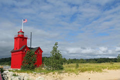 Big Red Lighthouse in Holland Michigan Stock Photos