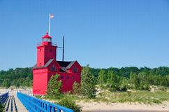 Big Red Lighthouse in Michigan Royalty Free Stock Photography