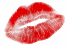 Big red lips isolated on white Stock Images