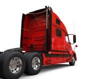 Big red modern semi - trailer truck - back view stock illustration