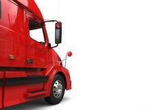 Big red modern semi - trailer truck - door closeup cut shot royalty free illustration
