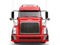 Big red modern semi - trailer truck - front view royalty free illustration