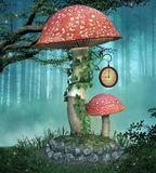 Big red mushroom in the foggy forest. Big red mushroom with ivy around its stem - 3D illustration stock illustration
