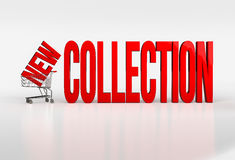 Big red new collection text in shopping cart on white background Stock Photography