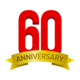 Big red number 60. With gold tape and text `anniversary` below. Vector tag isolated on white background. Celebration label for sixty years Stock Photo