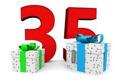 Happy Birthday. Big red number with two presents before Stock Images