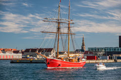 Big red old sailing ship in Amaliehaven Stock Image