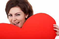 Big red paper heart Stock Photo