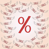 Big red percentage discount pattern Stock Images