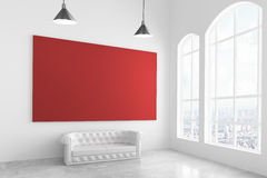 Big red poster in modern light room with white sofa and big wind Royalty Free Stock Photography