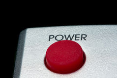 Big red Power button isolated on black Royalty Free Stock Photos