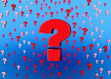 Big red question mark background 3D illustration faq sign. Many confusion question mark 3D illustration background red and blue Stock Photo