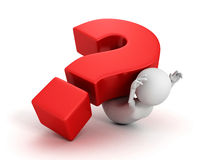 Big red question mark fall on white 3d person Royalty Free Stock Photos