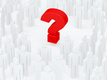 Big red question mark surrounded by a human crowd (3D render) Royalty Free Stock Image