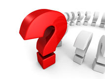 Big red question mark on white background. 3d render illustration Royalty Free Stock Image
