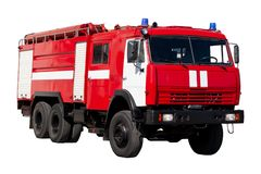 Big red rescue car of Russia, isolated on white stock photography