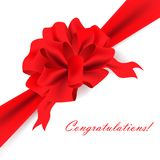 Big red ribbon bow. Over white background Stock Photography