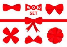 Big red ribbon Christmas bow icon set. Decoration element for giftbox present. White background. Isolated. Flat design. stock illustration