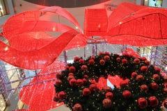 Big red ribbon decoration Stock Photo
