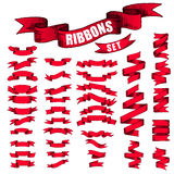 Big Red Ribbons Set, Isolated On White Background Royalty Free Stock Photos