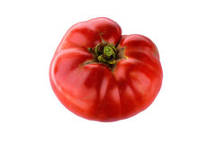 Big Red Ripe Home Grown Tomato. Picture of a fresh, lumpy, big red home grown tomato with a white background Stock Image