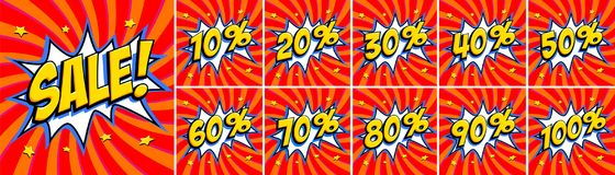Big red sale set. Sale inscription and all percent numbers.. Yellow and red colors. Pop-art comics style web banners, flash animation, stickers, tags. Vector Stock Photo