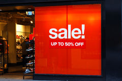 Big red sales poster on Boxing Day at Size? clothing retailer No Royalty Free Stock Images