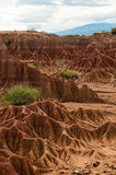 Big red sandstone rock formation in hot dry desert. Of Tatacoa, Huila in Colombia Stock Photos