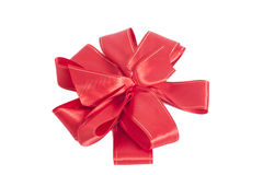 Big Red satin gift bow. Ribbon. Stock Photography