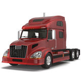 A Big Red Semi Truck  on White 3D Illustration Stock Photo