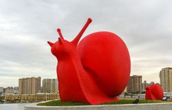 Big red snail Stock Photo