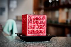 Big red square candle Royalty Free Stock Image