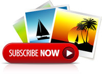 Big red subscribe now button Stock Photo