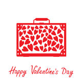 Big red suitcase with hearts. Isolated. Happy Vale Stock Photography