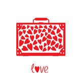 Big red suitcase with hearts. Isolated. Stock Image
