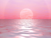 Big red sun. Red sun and ocean royalty free illustration