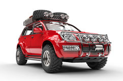 Big Red 4x4 SUV Stock Photo