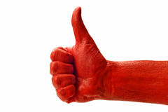 Big Red Thumbs Up Isolated On White. Close up shot of a big red hand with a thumbs up. Isolated on white stock images