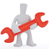 Big red tool. 3d character carry a big tool in hands Royalty Free Illustration