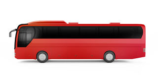 Big red tour bus  on a white background. Stock Photos