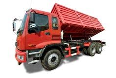 Big red truck tipper stock photos