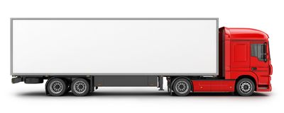 Big red truck and white trailer Stock Photo