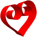 Big red Valentine 3D Heart scroll on white Stock Images