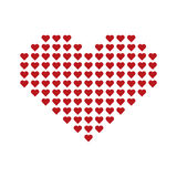 Big red vector heart consisting of small hearts. Vector illustration of big red vector heart consisting of small hearts, valentine`s day decoration Royalty Free Stock Images