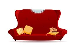 Big red velvet sofa with yellow pillows and cat. Cozy gradient couch with lace napkin on the back. Isolated flat cartoon vector illustration