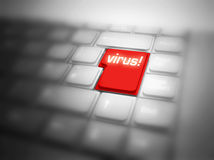 Big red VIRUS! button Royalty Free Stock Images