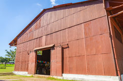 Big red warehouse on Estrada de Ferro Madeira-Mamore Stock Image