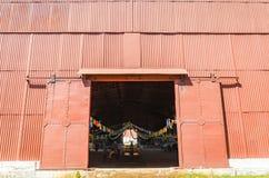 Big red warehouse on Estrada de Ferro Madeira-Mamore Stock Images