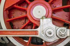 Big red wheel old locomotive Stock Images