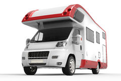 Big red and white camper van. Closeup shot royalty free illustration